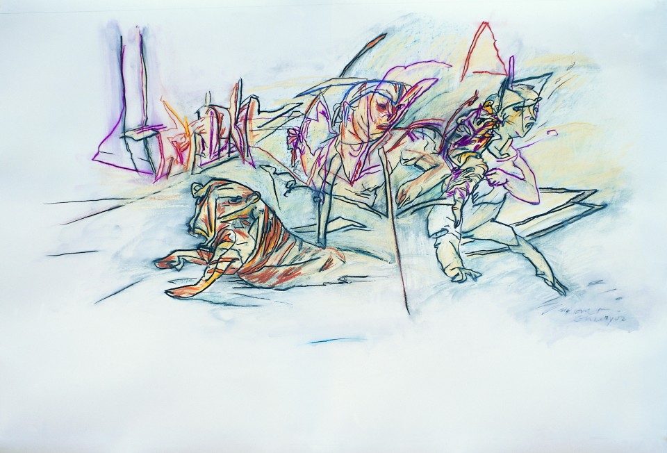 White Tiger, Mounted Drawing, Fabriano 2005,  138x90cm
