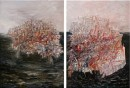 Stamboli: towards a city, Oil on canvas, 250x180 cm x2. diptych, 2012