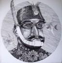 Burhan Kum - Il Presidente, Ink on canvas, 40 x 40 cm, 2014