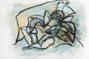 Mehmet Güleryüz -  Read ,  Mixed media on paper ,  45 x 67 cm, 2005